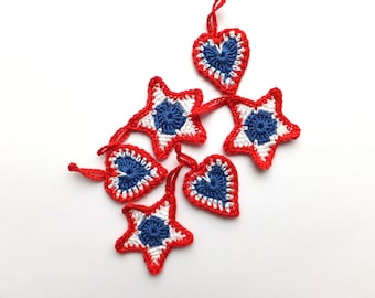 Patriotic ornaments - 4th of July gift tags - gift wrapping tags - 4th of July decorations - crochet stars - crochet hearts - set of 6