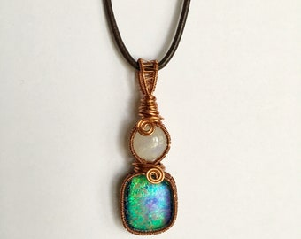 Wire Wrap Moonstone and Dichroic Glass Pendant