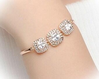 Clearance 11.99 Beautiful rosegold or silver rhinestone crystal wedding bridal bracelet,  bridesmaid jewelry, brides bracelet