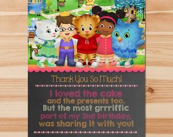 Daniel Tiger Birthday Thank You Card - Pink Chalkboard - Girl Daniel Tiger Thank You Card - Daniel Tiger Birthday Party - Daniel Tiger Party