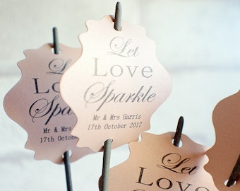 Let love sparkle tags, Pearlised Wedding tags, wedding sparkler tags, pearlised tags for sparklers, celebration wedding labels,
