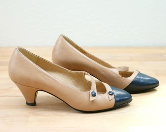 1970s Navy Pierre Pumps /// Size 5