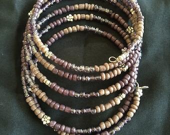 Memory wire seed bead bracelet