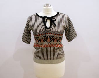 Black and White Vintage Sweater with Bow Tie Retro Boho Jumper with Stripes Size Small Red Details