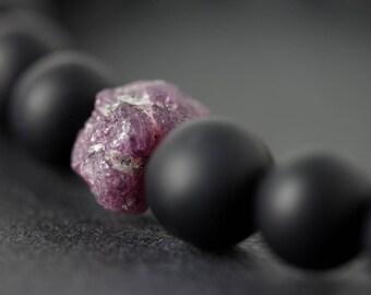 Ruby bracelet, raw ruby, rough ruby, minimal bracelet, rustic bracelet, july birthstone, birthday, birthstone, gift, ruby, onyx, 8mm.