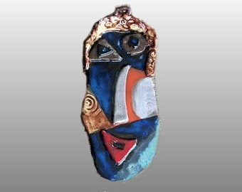Ceramic Face Wall Hanging/Clay Mask/Abstract Face/Expressive Wall Art By Leslie Farin