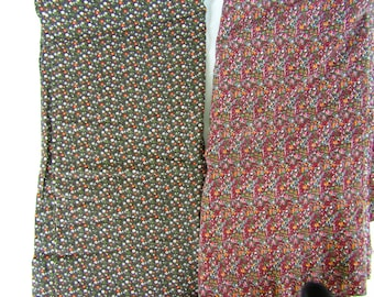 2 pieces vintage cotton flannel brown with small flowers 6.5 yards total