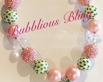 St Patricks Day Chunky Bubblegum Necklace