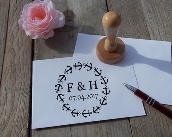 Wedding stamp with initials and date; Personalized; Wedding; Anchor; Rubber; Wood