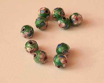 Set of 10 dark green round cloisonne beads (6 mm)