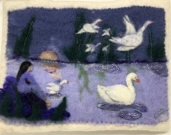 OOAK Wall Hanging Wild Swans fairytale wet and needle felted purple tones wall art nursery decor