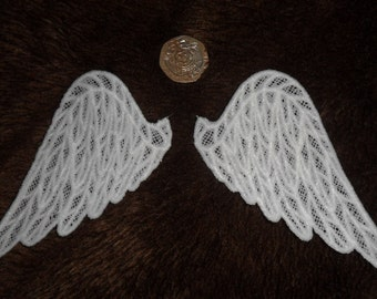 UK White Lace Wings Gothic Angel Bat Bear Cloth Doll Dragon Fairy applique