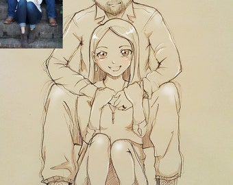 Personalized couple pencil sketch caricature full body