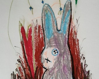 Deranged Bunny Under the Irish Moon; Canadian Outsider Art; Abstract Figurative Expressionist