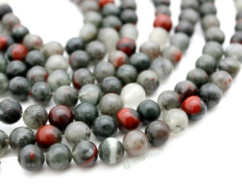 "African Bloodstone Beads, 8mm Natural Gemstone Mala Beads, Full 14.5"" Strand, 47 pcs"