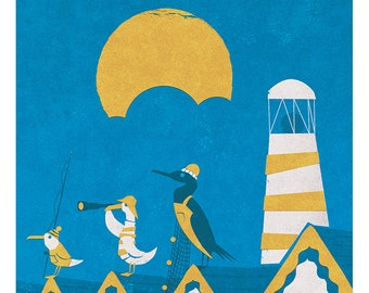 Bathroom Art Print, Nautical Art, The Seafarers