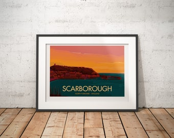 Scarborough, North Yorkshire, England, UK - signed travel poster print