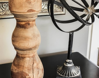 Large Wood Candlestick From A Tree Named Sherry