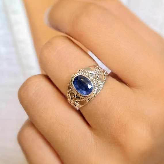 Boho ring kyanite ring blue stone ring gypsy ring
