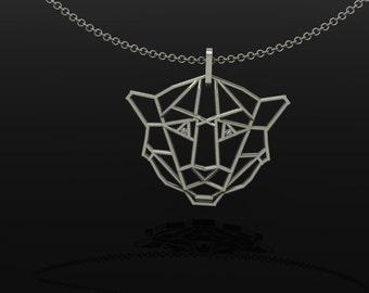 Handmade Lion Pendant -Sterling Silver and diamonds