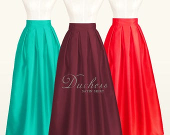 Duchess satin fully lined pleated long skirt with pockets - custom size ball gown long skirt in black, navy blue, red, plum, emerald green