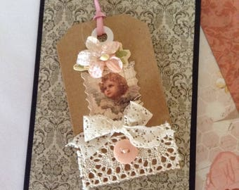 Handmade Shabby Chic Collage Greetings Card with White Insert, plus envelope