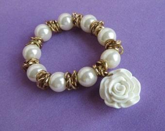 Faux Pearl Bracelet, Vintage Stretch Bracelet, Dangling Rose Bracelet, Costume Jewelry Gift Idea