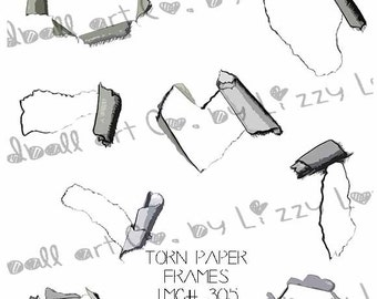 INSTANT DOWNLOAD Ripped Paper Frames Digital Stamp Collage Sheet - Torn Paper Frames Image No.305 by Lizzy Love