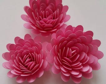 Set of Dark Pink Rolled Paper Flowers, Origami Flowers, quilled Flowers