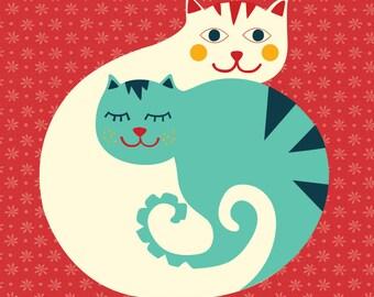 Cats Illustration / Cats Wall Art / Cat Illustration / Cat Wall Art / Cat Poster / Cats Poster / Cats / Cat / Blue Cat / White Cat