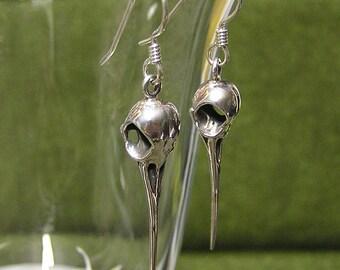 Silver Hummingbird Skull Earrings, Bird Skull Earring Dangles, .925 (sw)