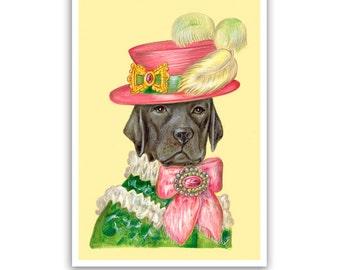 Labrador Retriever Art Print - Lady Black Lab - Dog Gifts, Posters - Black Labrador - Pet Portraits by Maria Pishvanova