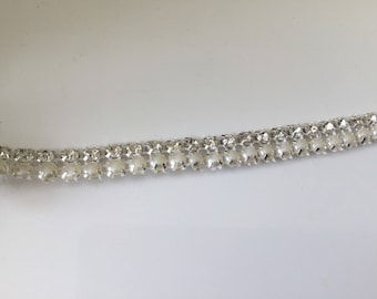 Ribbon of 2 lines of Crystal bead 1 cm wide
