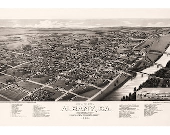 Albany, Ga. The Artesian City; Dougherty County. Antique Birdseye Map; 1885