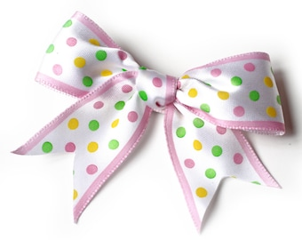 Polka Dot Hair Bow. Pink and White Dovetail Cut Basic Bows. Girls Hair Clips Set of 2. Baby Hair Clips With Non-Slip Grips. Toddler Hairclip