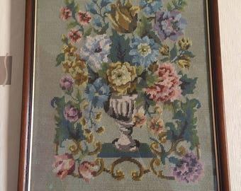 Vintage Floral Tapestry in a Frame