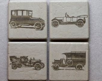 Coaster set of 4. Laser Engraved/Etching. Ceramic. each coaster is  4.5 in. x 4.5 in.  ANTIQUE CARS-1