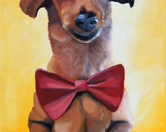 Dog portrait, custom pet painting on a 10x14 canvas from your photo, hand painted