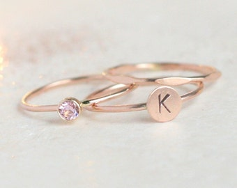 ROSE gold personalized stacking ring SET. initial ring. gold diamond ring. monogram letter ring set of THREE rings. mothers ring.
