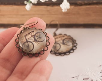 BICYCLE Earrings, BIKE Earrings, Bike Jewelry, Bicycle Jewelry, Gift For Bike Lover, Gift For Woman, Glass Earrings, Vintage Bike, Cameo