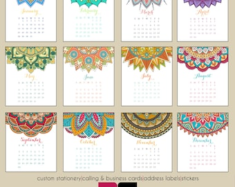 2018 Desk Calendar - Colorful Mandalas with Clear Case