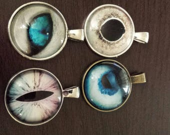 4 eye ball   glass cabochon pendants  destash  clearance #p13