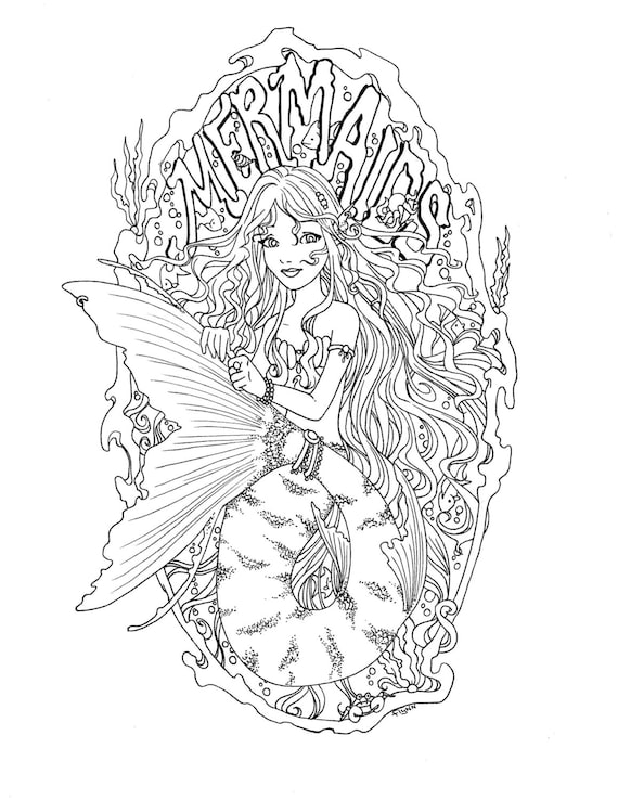 5 Digital Mermaid Coloring pages Instant Download
