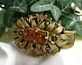 Brass Cuff Bracelet Victorian Revival, Filigree Mesh Hinged Band, Leaves and Flowers Wide Medallion Center, Topaz Glass Stones