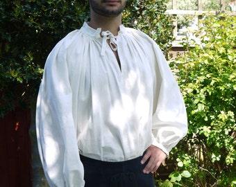Linen chemise Men's 15th Century ise, historical costume. Medieval Wedding, Reenactment clothing. Linen shirt.