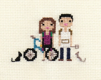 Custom Family Portrait in Pixel Cross Stitch (Unframed)
