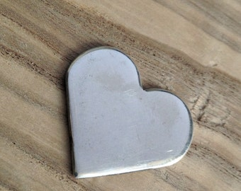 Sterling Silver Heart Blank 18mm