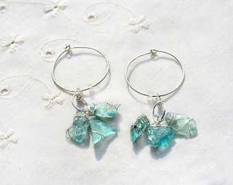 Aquamarine Roman Glass Cluster Earrings Silver Hoop Earrings Roman Glass Earrings Roman Glass Jewelry Silver Jewelry Free Shipping Israel