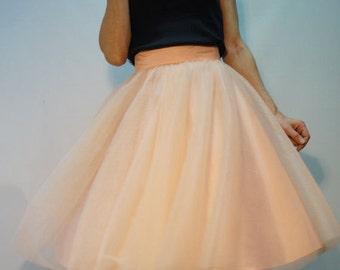 Women Tulle Skirt/ Tutu Skirt/ Princess Skirt/ Skirt/ short Skirt/Peach Color Skirt/ Ballet Skirt/Bridesmaid skirt/F1221