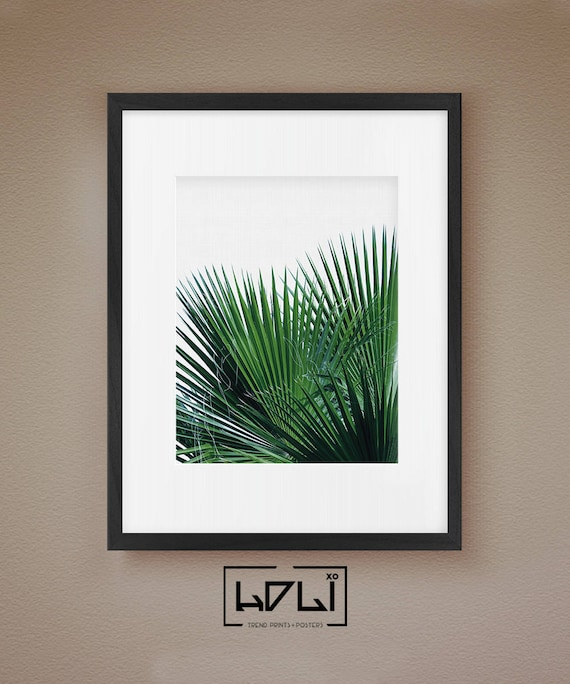 Palm Leaf Palm Print Green Bedroom Decor Plant Leaves Wall